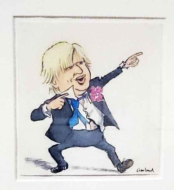 Boris Johnson doing the Hussein Bolt Lightening pose