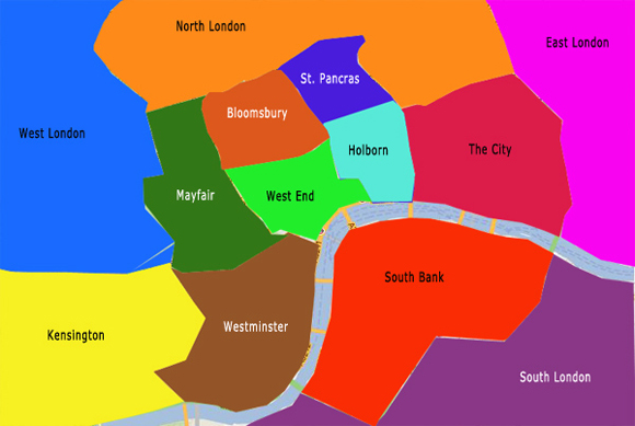 Districts Of London Map.Free London Sightseeing Map And Guide